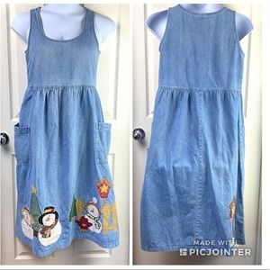 VTG 80's 90's Denim Snowman Christmas Dress L